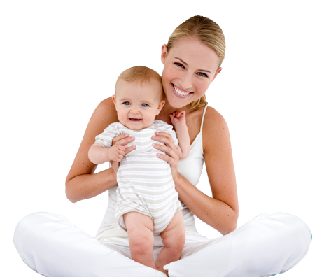 Mutter mit Kind auf dem Schoß