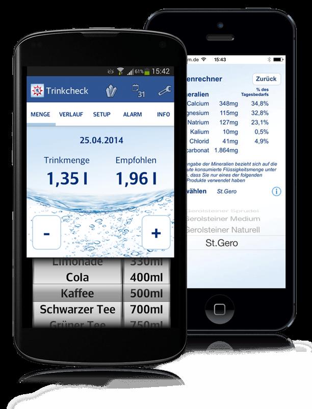 Abbildung der Gerolsteiner Trinkcheck-App