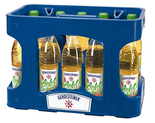 Gerolsteiner Apfelschorle PET Mehrweg 0,5-Liter-Flasche im Kasten