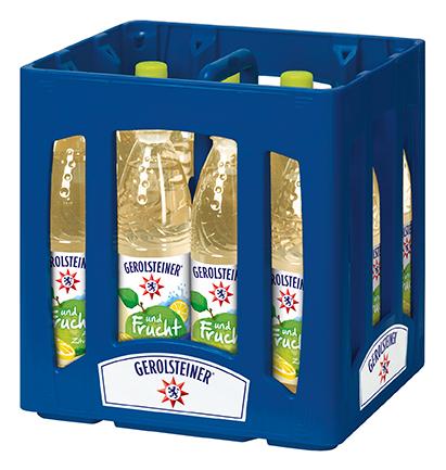 Gerolsteiner und Frucht Apfel Zitrone PET Mehrweg 0,75-l-Flasche im Kasten