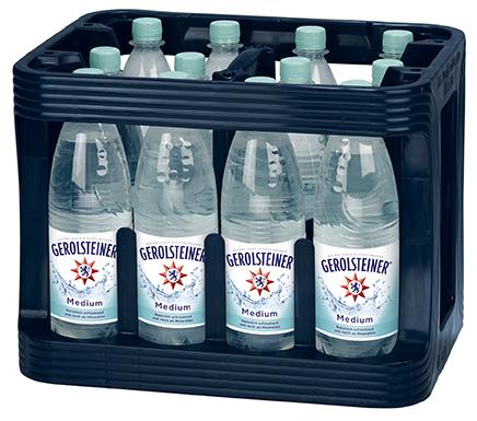 Gerolsteiner Medium PET Mehrweg 1-Liter-Flasche im 12er Kasten