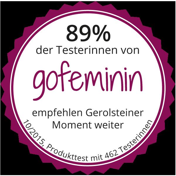 Testsiegel gofeminin: 89 % empfehlen Gerolsteiner Moment
