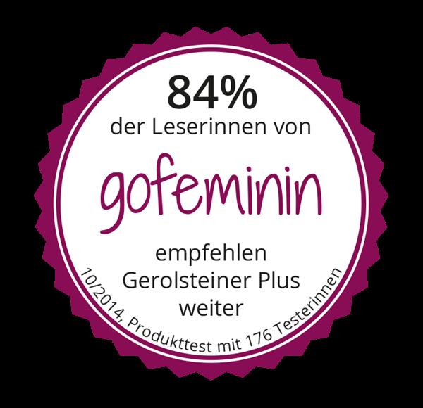 Testsiegel gofeminin: 84 % empfehlen Gerolsteiner Plus