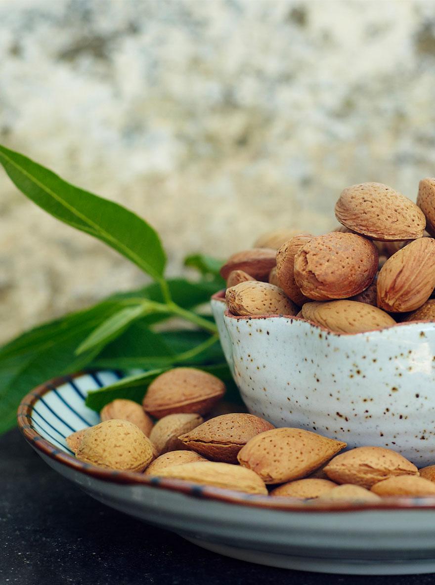 Schale voller Nüsse auf einem Tisch